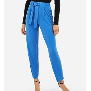 Express blue mid rise ankle jogger pants S